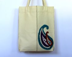 Leather tote bag with paisley applique. by HandMadeByKonovalovy, $88.00