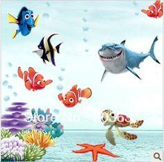 Alla ricerca di nemo pesce parete adesivi bambino doccia in camera vignetta, carta da parati