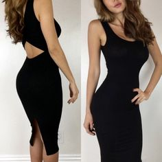 """✨• RESTOCKED • Black Cut Out Midi S M L A classic midi dress that stands out. Beautiful lower back cut out. Perfect easy stretch to fit material, non sheer. Can be worn with a bra as well. Will be one of your favs! Size M measures 15"""" across chest 42""""'in length. 92% Rayon 8% Spandex. For size reference I am wearing Size S- 5'3""""-105lbs -Sz 0/2 * Please do not purchase this listing- Thank you! * Boutique Dresses Midi"""