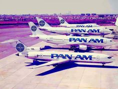 "At JFK in 1985 - Pan Am's ""billboard"" livery on a 727-200, A300, 747-100 and a 747-SP - FlyPanAm"