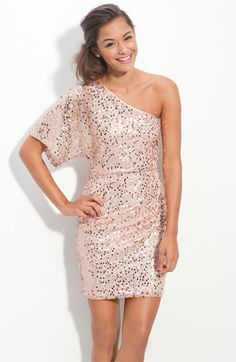 One Shoulder Sequin Kimono Sleeve Dress -- peach! $74