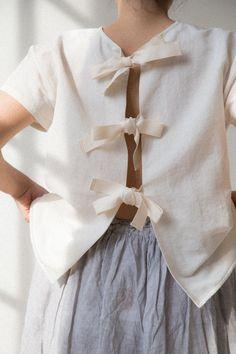 rennes — Asciari Tie Back Shirt Alabaster