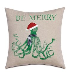 Festive Octopus from Eastern Accents, octopus holiday pillow