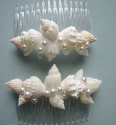 Beach Wedding Seashell Hair Combs  Shell Hair by beachgrasscottage, $22.00