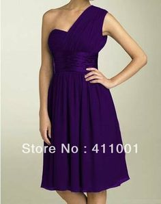 2014 Purple One-shoulder Chiffon Knee-Length Wedding Bridal Gown XS S M L XL XXL XXXL All Sizes Made to Measure