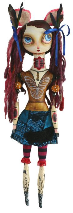 'Violet' oil and acrylic paint, fabrics, wool. paper clay, wood, feathers, vintage beads. 2007 . by  JennyBird Alcantara