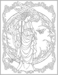 Creative Haven ELEGANT ANGELS Coloring Book By Marty Noble Welcome To Dover Publications COLORING PAGE