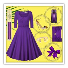 """""""Violet and Gold"""" by lullulu on Polyvore featuring Thierry Mugler, Boohoo, Kendra Scott, Jimmy Choo and Forever 21"""