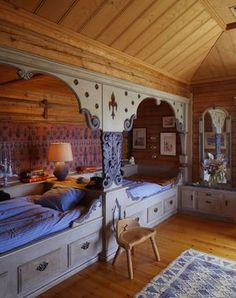 Don't know if it's Moroccan exactly, but it's so cool.  Great idea for a long attic room.