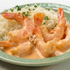 A creamy, rich shrimp sauce is served over rice or pasta for this 30-minute meal.