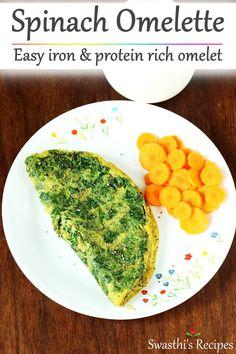 Egg recipes - Collection of 52 anda recipes - Swasthi's Recipes Spinach Omelette, Spinach Egg, Omelette Recipe, Samosa Recipe, Indian Breakfast, Breakfast Dishes, Breakfast Recipes, Egg Recipes Indian, Snack Recipes