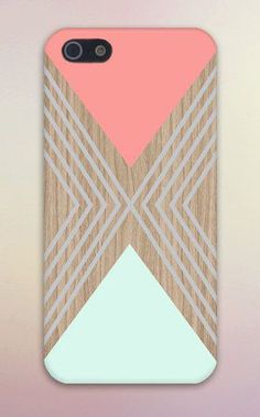 Salmon Pink x Turquoise Triangles x Wood Design Case for iPhone 6 6 Plus iPhone 5 5s 5c 4 4s Samsung Galaxy s5 s4 & s3 and Note 5 4 3 2
