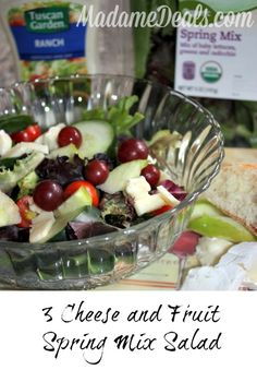 3 Cheese Spring Mix Salad with Fruits #recipes #inspireothers