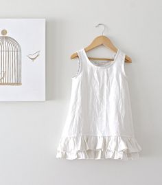 Girls Ruffled Rustic Linen Cream Pinafore-Baby Toddler Prairie Tunic-Boho Eco Friendly Clothing-Handmade Children Clothing by Chasing Mini
