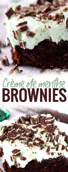 Creme de Menthe Brownies - these Crème de menthe brownies bring together mint buttercream frosting, liqueur and fudge brownies into one delicious treat. Top with Andes mints and you have a winner. Shop Coconut Bowls at BuddhaBowls. Mini Desserts, Single Serve Desserts, Trifle Desserts, Winter Desserts, Great Desserts, Party Desserts, Holiday Desserts, Delicious Desserts, Dessert Recipes
