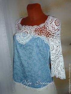 Купить Комбинированная летняя блузка - голубой, белый, хлопок, блузка, комбинированная, летняя, лето
