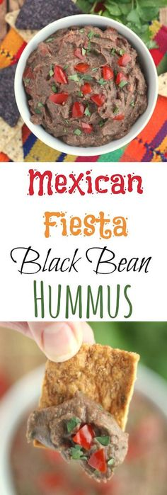 This Mexican Fiesta Black Bean Hummus recipe is so easy and so delicious - bursting with cilantro and juicy, fresh tomatoes! Just toss everything in the food processor! ~ from Two Healthy Kitchens at www.TwoHealthyKitchens.com