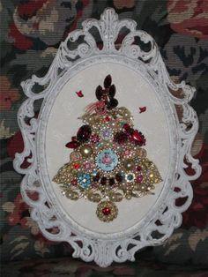 Shabby Vtg Sparkling Framed Jewelry Christmas Tree Pinks Pastel Rhinestones Chic | eBay