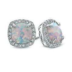 Zales Opal and 1/10 CT. T.w. Enhanced Black Diamond Split Shank Frame Ring in Sterling Silver bb2Msd6tN