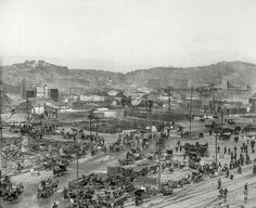 """""""Russian and Telegraph hills from roof of Ferry P.O., San Francisco."""" View of the devastation wrought by the earthquake and fire of April 1906.  Shorpy Historic Picture Archive"""
