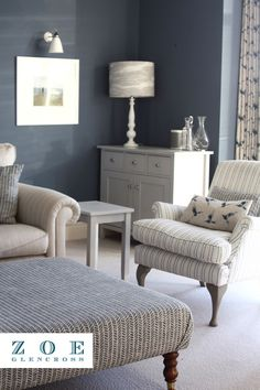 Discover coastal inspiration for your beautiful home. Layer linens and add touches inspired by the sea. #zoeglencross #coastalinterior #luxuryhome #beautifulhome Paint And Paper Library, Indigo Walls, Stiffkey Blue, Stunning Wallpapers, Living Room Inspiration, Natural Linen, Soft Furnishings, Linen Fabric, Printing On Fabric