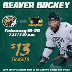 The Beavers team return to the Sanford Center Feb. 19-20. For a limited time, get your ticket for just $13. Get your ticket to see the Beavers and the Huskies by the end of the day Feb. 7 and save $9. Bemidji State University, Beavers, Hockey Teams, Human Resources, Ticket, Resource Management, Baseball Cards, Sports, Hs Sports