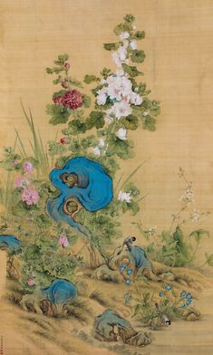 Lang Shining(Att.)	(Giuseppe Castiglione, b. 1688-1766) Birds And Flower Hanging scroll;ink and colour on silk. 郎世寧(款)	(b. 1688-1766) 富貴長春 立軸 設色絹本  151 x 91 cm. 59 1/2 x 35 7/8 in. 約12.4平尺  鈐印:臣世寧、恭畫 題識:臣郎世寧恭畫。 Japan Painting, Ink Painting, Chinese Landscape, Landscape Art, Chinese Painting, Chinese Art, Chinese Flowers, Tibetan Art, Chinoiserie Wallpaper