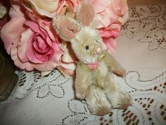 "Easter Bunny Stuffed Animal 5"" Jointed Beige Plush Rabbit  Home Decor"