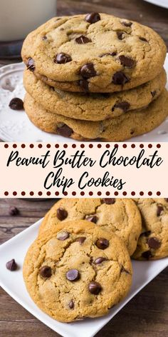 peanut butter cookies These giant peanut butter chocolate chip cookies are soft and chewy with slightly crispy edges and filled with chocolate chips. An easy recipe for the best peanut butter cookies around! Healthy Cookie Recipes, Oatmeal Cookie Recipes, Chocolate Cookie Recipes, Healthy Food, Recipes With Chocolate Chips, Easy Recipes For Desserts, Meal Recipes, Recipes Dinner, Delicious Recipes