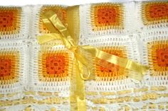 Orange  YellowCream  Baby  Blanket  Crochet  Blanket by zERrtakI