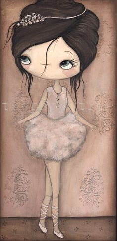 Ballerina Painting Original Painting  7 x 14 by thepoppytree, $110.00
