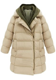 Knit Hooded Down Coat
