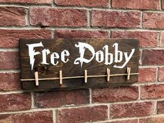 Free Dobby Wood Sign / Harry Potter House Elf / Laundry Room Sock Hanger / Save Dobby / Donate Single Socks / Lost Socks / Gifts Under 20