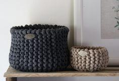 Original-Textilo-Strickkorb Waffelpiqué grau und beige