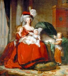 Marie Antoinette and her Children, 1787, by Louise Elisabeth Vigee Le Brun.- notice the empty cradle for the child she lost