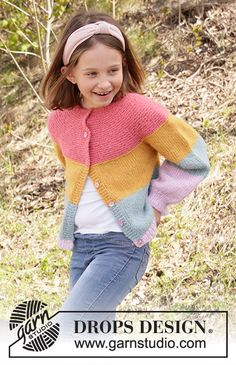 Candy Bar Jacket - Knitted jacket for children with stripes in DROPS Air, Nepal or Paris. The piece is worked top down with round yoke and raglan. - Free pattern by DROPS Design Kids Knitting Patterns, Knitting For Kids, Free Knitting, Baby Knitting, Crochet Patterns, Knitting Gauge, Drops Design, Jacket Pattern, Cardigan Pattern