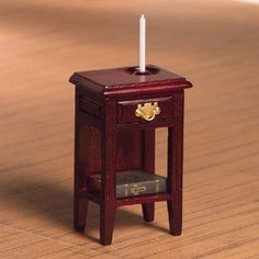 Bedside Table & Candle Holder (M) - A beautiful scent every day - Dolls' House Bedrooms - Dolls' House Room Displays - Dolls House Emporium