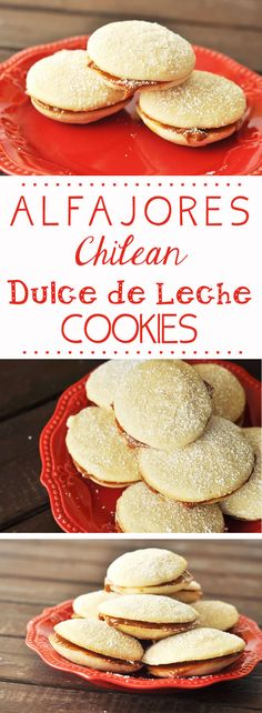 Alfajores- Chilean Dulce de Leche Cookies, lightly sweetened sandwich cookies with dulce de leche in the middle. Also delicious with jam! Chilean Desserts, Chilean Recipes, Chilean Food, Köstliche Desserts, Delicious Desserts, Dessert Recipes, Yummy Food, Food Deserts, Mexican Food Recipes