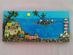 Güzel yurdum Türkiye wall art decor that will look great for children's room, very uniqueThis Pin was discovered by ozl Stone Crafts, Rock Crafts, Diy Arts And Crafts, Clay Crafts, Pebble Painting, Pebble Art, Stone Painting, Caillou Roche, Deco Marine