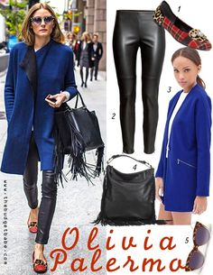 Olivia Palermo's cobalt coat, leather pants and mixed-media flats #dressbynumber #celebritystyle