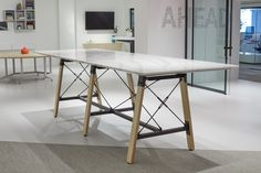 Enwork Adventure Table, Conference Table, Team Table, Quartz Top, Cambria, Standing Height, NeoCon 2019 Conference Table, Architectural Elements, Quartz, Adventure, Wood, Inspiration, Furniture, Design, Home Decor