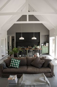 Great open plan living/dining room and kitchen. Love the white and grey with muted green.
