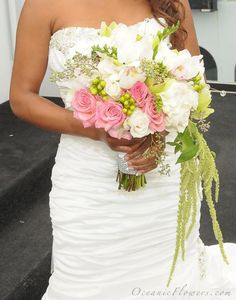 Pink, White, and Green Bridal Bouquet