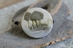 Ceramic brooch with woodland scene by alltheseprettythings on Etsy, £4.50