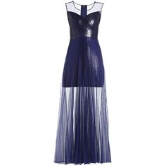 Bcbg Maxazria Cynthia Sequinned Detail Sunburst Pleated Gown AHW69C04 ($250) ❤ liked on Polyvore featuring dresses, gowns, blue evening gown, sheer gown, blue sleeveless dress, blue sequin dress and sequin evening gowns