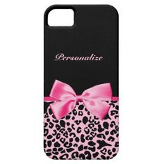 A trendy and stylish pink and black leopard print iPhone 5 Barely There Universal Case with a cute hot pink ribbon bow wrapped like a present. Personalize this chic animal pattern cellphone cover by adding your name. Perfect designer women's fashion for the fashionista in any teen girly girl!