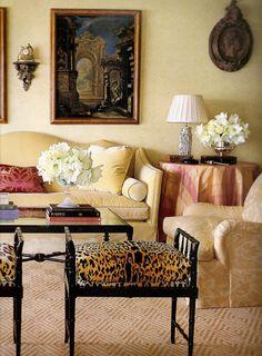 Alessandra Branca - bamboo benches + leopard print cushions