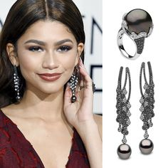 The dark and dramatic jewellery worn by to the last night. The unique pieces feature black and white diamonds with large and lustrous Further details can be found on our website in the High Jewelry, Pearl Jewelry, Jewellery, Celebrity Jewelry, Celebrity Style, Golden Globes 2016, Yoko London, Sea Pearls, Tahitian Pearls
