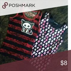 Two Stylin Tanks Pink and white skulls over a black background and a black and red,racerback Skelanimals tank with the cutest kitty ever! Outlines of stars and the kitty in the red striping. * Hot Topic * Goth * Emo * Hot Topic Tops Tank Tops