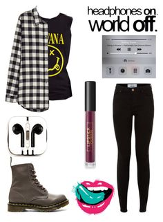 """Ootd"" by arachnofobia ❤ liked on Polyvore featuring beauty, H&M, Dr. Martens, PhunkeeTree and Lipstick Queen"